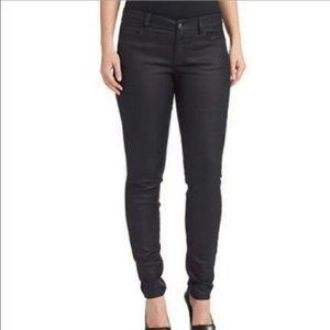 EILEEN FISHER black waxed skinny jeans size 14